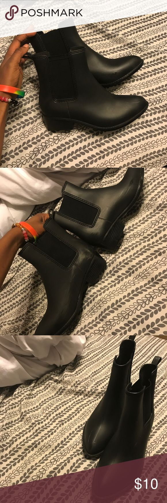All Black Chelsea Boots not listed brand. i'm selling these for super cheap because they have done skid marks on them fue to the rubbery material. luckily the marks can only really be seen if light is bouncing off of them American Apparel Shoes Ankle Boots & Booties