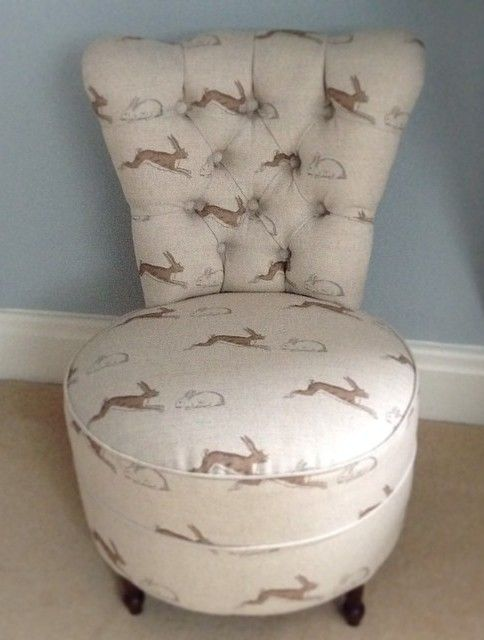 Vintage chair covered in Emily Bond Rabbits & Hares fabric, by Sally White Designs.