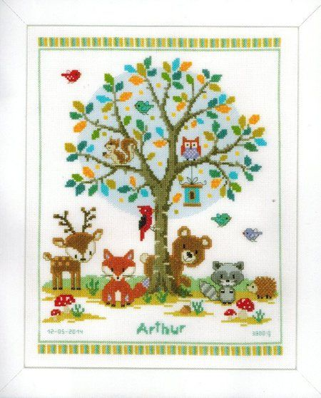 Vervaco In the Woods Birth Record - Cross Stitch Kit. Complete kit includes 14 Ct. White Aida, thread, needle, chart and instructions. Finished size: 11.2 x 14