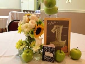 Classroom themed centerpieces for a teacher's retirement party