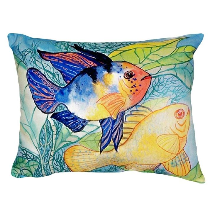 Two Fish Indoor/Outdoor Throw Pillow