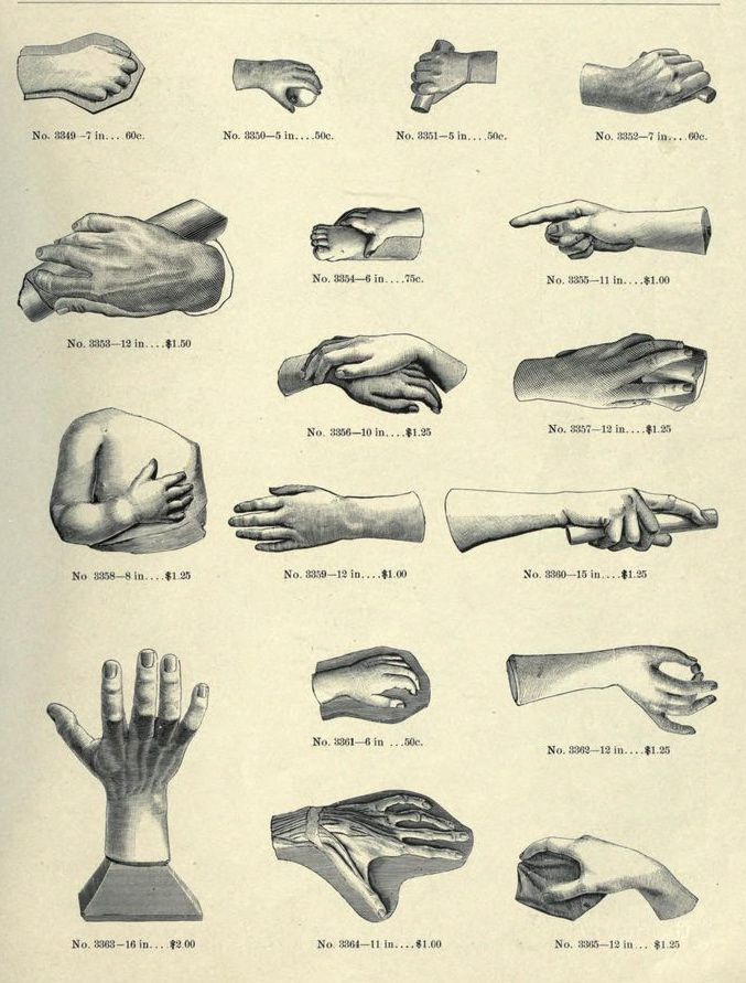 Page from a catalogue of decorative plaster casts. Hennecke's art studies. 1887.