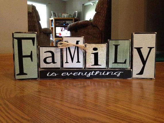 Family is everything primitive wood block set gift home decor wedding anniversary birthday christmas sign gift on Etsy, $27.95