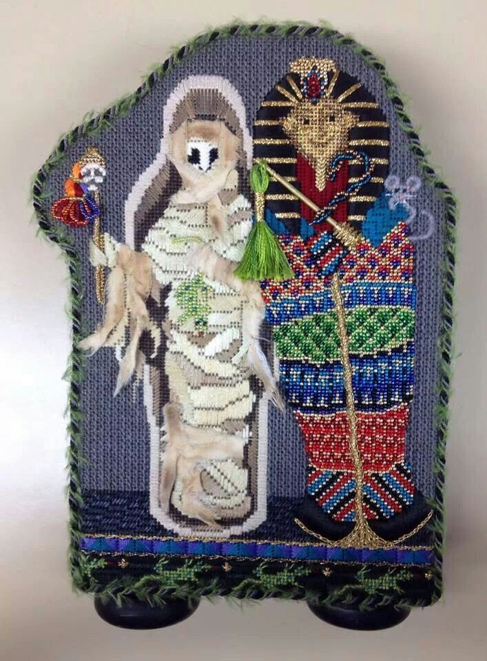 Mummy & case needlepoint, ?Kelly Clark canvas?