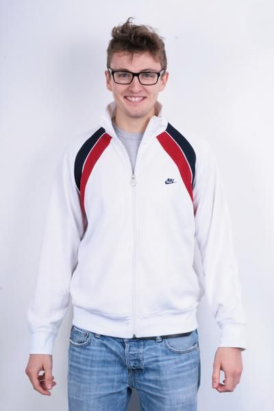 Nike Bowerman Drive Beaverton Oregon Mens L Sweatshirt White Sport Top Tracksuit - RetrospectClothes