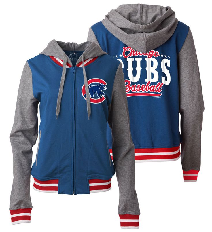 Chicago Cubs Women's Zip Front French Terry Hoodie  #ChicagoCubs #Cubs #FlyTheW SportsWorldChicago.com