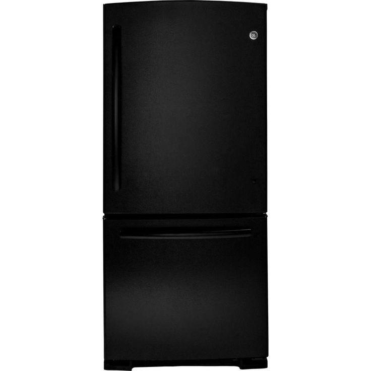 Ge 203 cu ft bottom freezer refrigerator in black