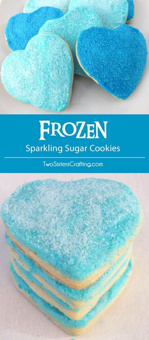 Our Frozen Sparkling Sugar Cookies are soft and delicious sugar cookies topped with lucicious buttercream frosting and homemade sparkling sugar and decorated in iconic Elsa and Anna colors. What a fun dessert for a Frozen Birthday Party or as a special treat for the Frozen fan in your life. Follow us for more great Frozen Party Ideas.
