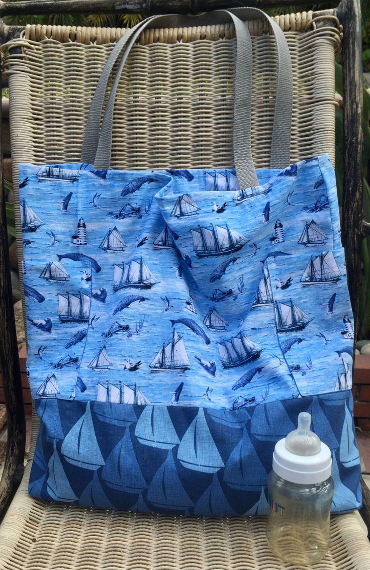 Gender Neutral Diaper Bag, Ocean Sailboats Scene, Custom Tote Bag, Purse, Whales, Shopping Bag, Anchors, Seagulls, Nautical, Blue, White by designsbyfancyrose on Etsy