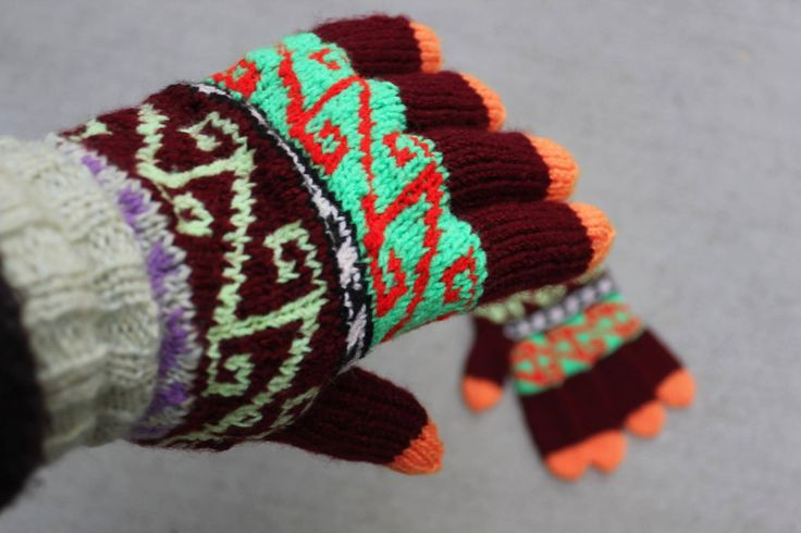 Handmade Hand Knit Women's Gloves, Colourful Gloves, Warm Gloves, Bright Colours by ufer on Etsy