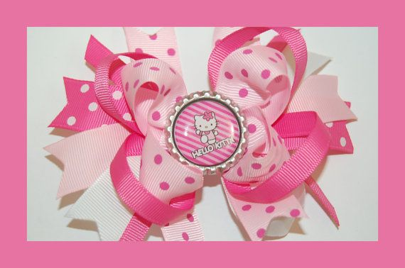 PINK KITTY Hair Bow w/Bottle Cap Attached to Alligator Clip.. Made with Grosgrain Ribbon.. on Etsy, $6.99