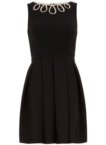 Black dobby spot dress