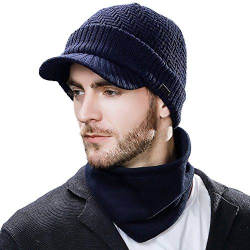 a092a8a231e Great for SIGGI Mens Wool Knit Visor Beanie Winter Hat Scarf Sets Fleece  Mask Neck Warmer.   4.99 - 23.00  yourfavoriteclothing from top store