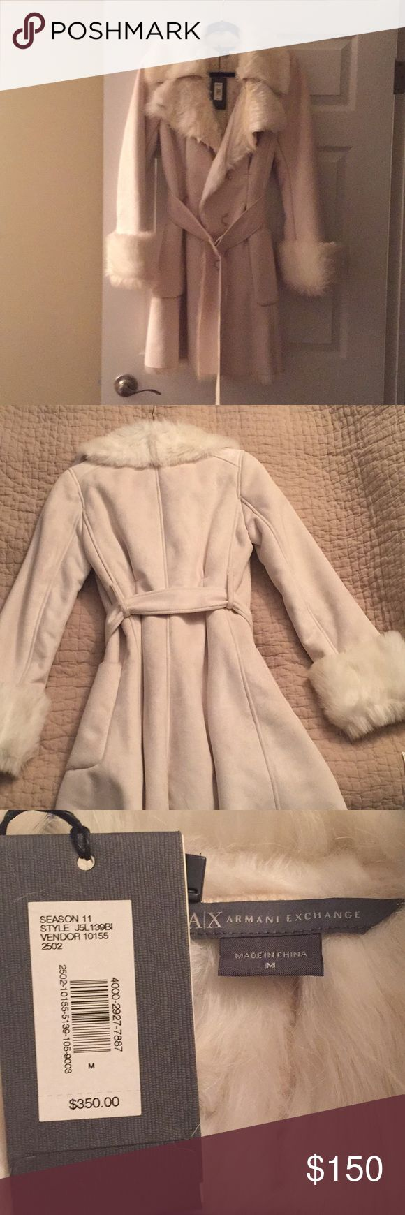 Ivory A/X Armani Exchange Coat Medium Ivory A/X Armani Exchange Coat Medium. Never worn, tags still attached. Faux fur inside. Super warm and cozy. Excellent condition. I would just recommend dry cleaning as jacket was hung in closet uncovered A/X Armani Exchange Jackets & Coats Trench Coats