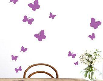 Vlinders Vinyl muur patroon, Set van 36, verwisselbare muur patroon sticker, muur sticker, Butterfly muur Sticker, kwekerij muur stickers, kunst aan de muur