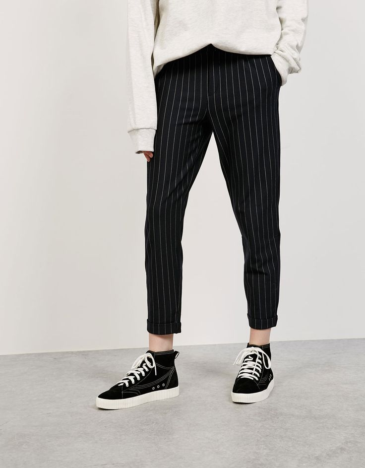 Pinstripe jogging trousers. Discover this and many more items in Bershka with new products every week (Super cute!)