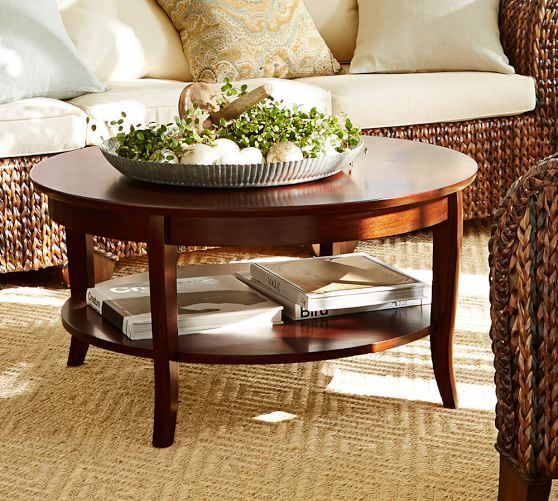 chloe round coffee table pottery barn great room