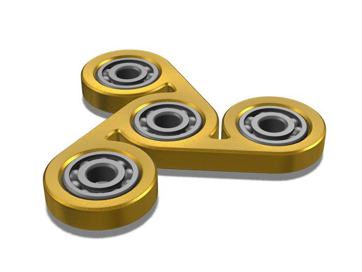 Golden Fidget spinner - a 3D model by Milan Gladiš | VECTARY    fidget spinner, had spinner, free 3D model, 3D printing, 3D print, finger spinner, toy, diy