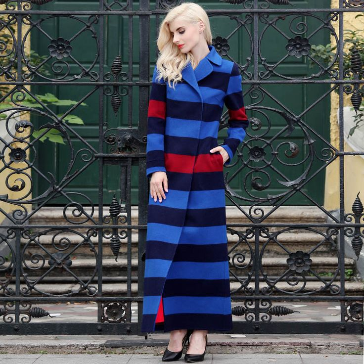 Ladies Winter Maxi Coat Long Wool Coat Striped Black Blue Winter Notched Collar Size 8-18