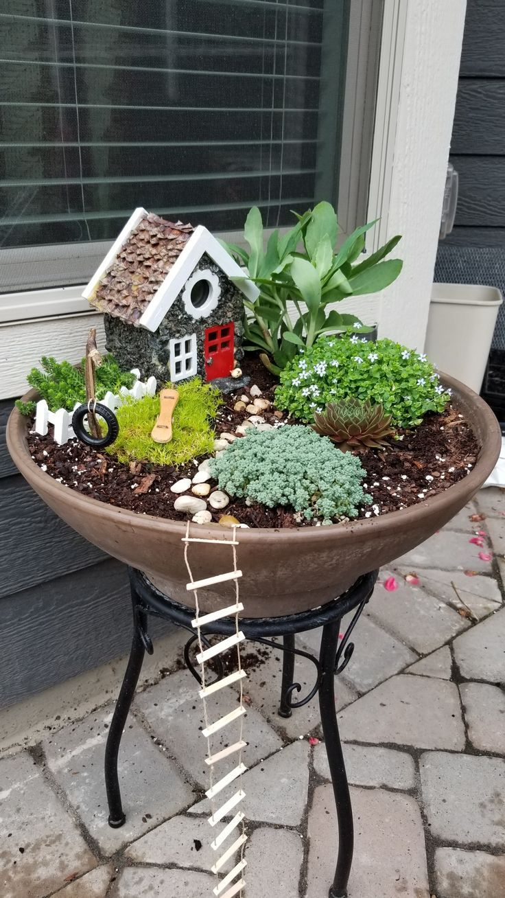 Like The Rope Ladder And Tyre Swing Ladder Rope Swing Tyre Indoor Fairy Gardens Miniature Fairy Garden Diy Fairy Garden Diy
