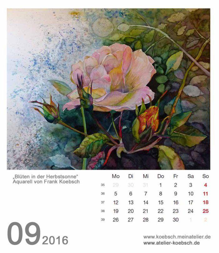 Kalenderblatt September 2016 | Bilder, Aquarelle vom Meer & mehr - von Frank Koebsch