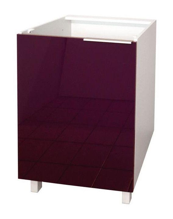 Pop Meuble Bas De Cuisine L 60 Cm Aubergine Haute Brillance Furniture Home Decor Decor