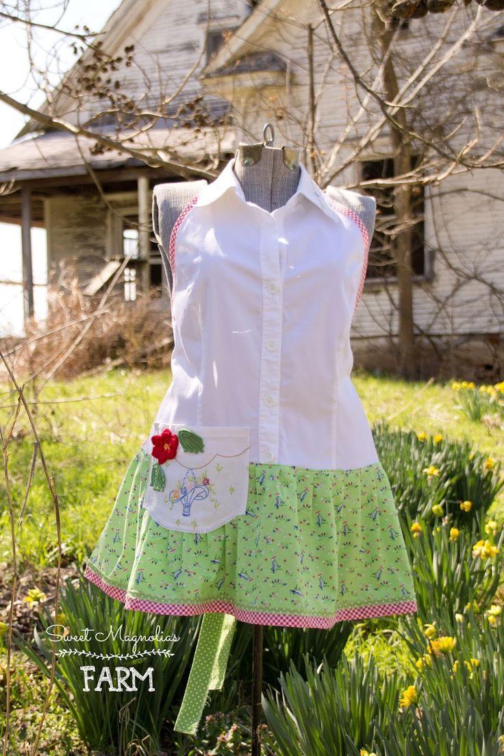 White half apron vintage - Farmhouse Shirt Apron Vintage Linen Cotton Ladies Full Apron Spring Tea Party And Gardening