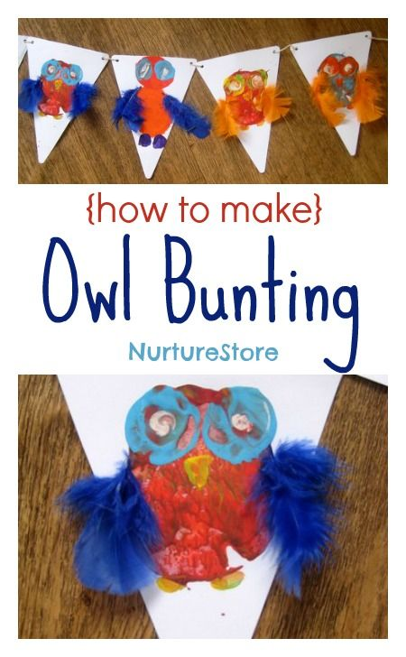 Gorgeous owl bunting - great kids' art project.
