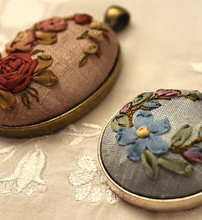 Silk ribbon embroidery pendants