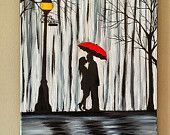 Original Couple in rain painting, Couple kissing in the rain wall art, couple with red umbrella painting, couple silhouette painting, 16x20