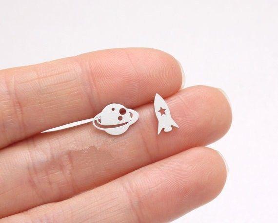 Planet and Rocket Earrings, Galaxy Studs, Space Earrings, Girls Gift, Planet Jewelry, Saturn Earrings, Rocket Earrings (E38)