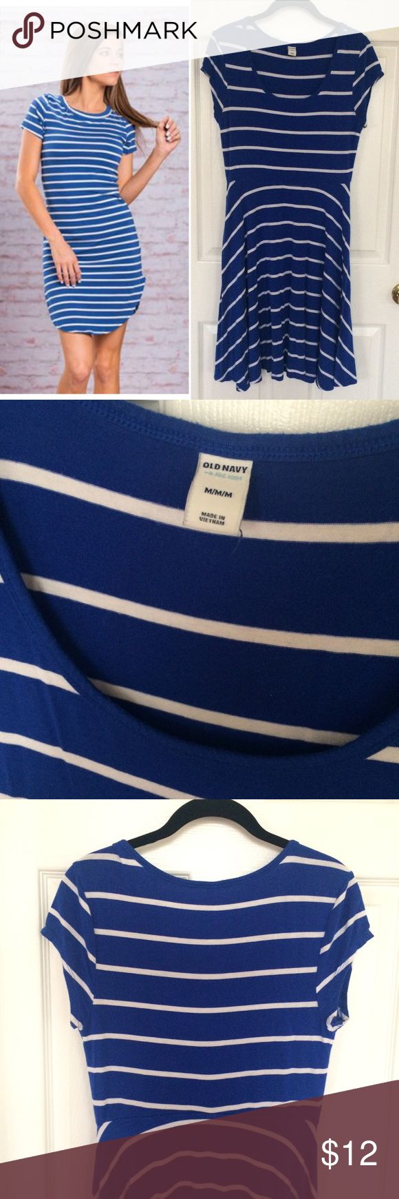 Old Navy Striped Dress Gently worn, in great condition! Royal blue with white stripes. Very soft and comfy! The neck is rounded and dips a bit in the front. A go-to dress for spring! 🎀 Outfit Inspiration by Pinterest 🎀 Old Navy Dresses Midi