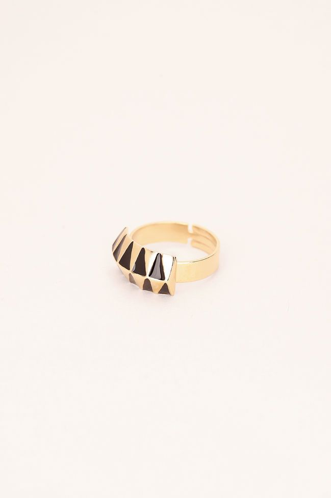 Bague dorée triangles noirs Legend 3