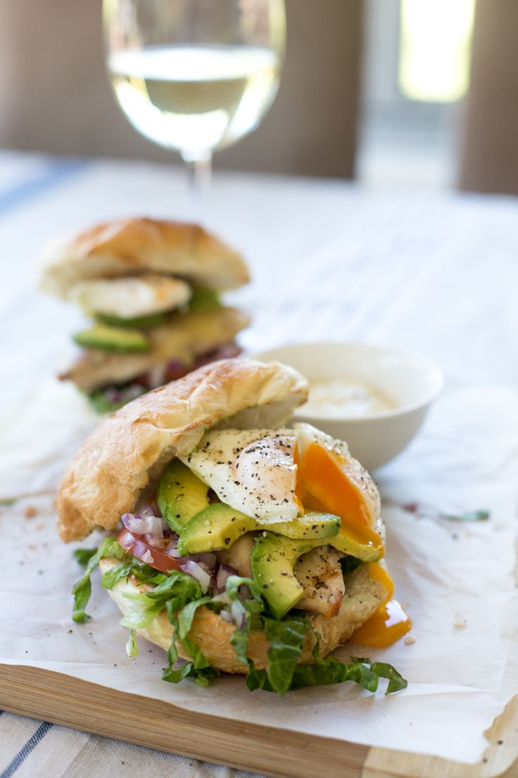 Grilled Chicken Burgers w/ Poached Eggs