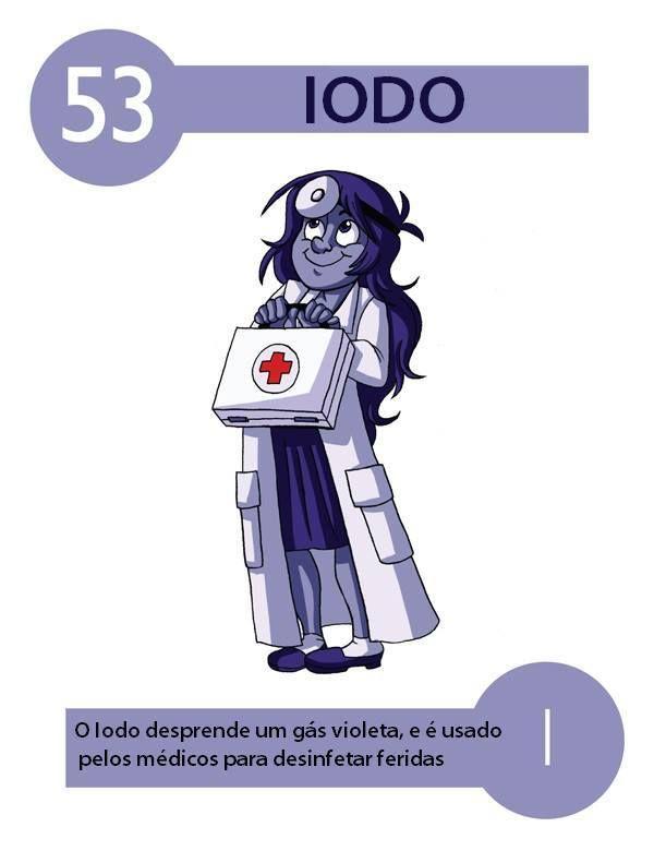 Blue Dot Página curtida · 16 de dezembro de 2013 ·     53/112   IODO     O iodo é um elemento químico cujo símbolo é I, possui número atômico 53 (53 prótons e 53 elétrons) e massa atômica 126,9 u. Classifica-se como ametal do grupo dos halogênios (família 7A) na classificação periódica dos elementos, sendo o menos reativo e o menos eletronegativo de todos os elementos do seu grupo.  O Iodo foi descoberto no ano de 1811, na França, pelo químico Bernard Courtois. O cientista realizava estudos…