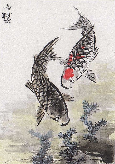 fish art | ... Chinese Art: LinLi Orig Art ACEO Watercolor Painting KOI Carp Fish