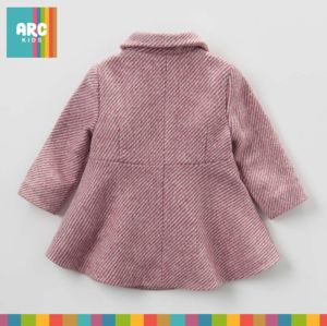 Shop now! Stunning Pink stripe Wool Coat. Stylish wrap over zip closure embellished with a beautiful pink bow. Lovely warm winter wool coat for girls this winter 2017. Available in 18 months to 7 years.