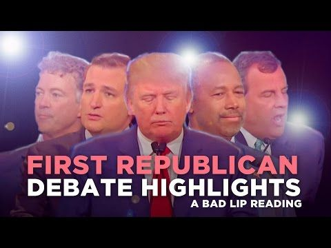 Bad Lip Reading Of The Republican Primary Debate. This made me laugh so hard, I cried. Seriously, it is hilarious. Ted Cruz is my favorite.