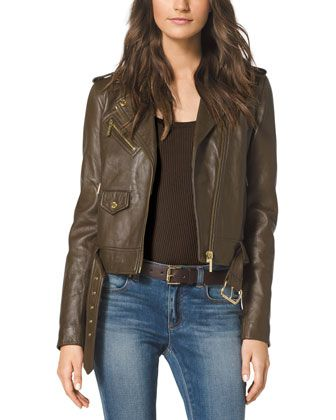 MICHAEL Michael Kors Cropped Leather Moto Jacket. this beauty caught