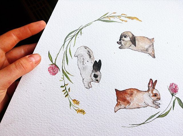 Finished this little commissioned Running Rabbit Wreath! #instadaily #cute #love #life #flower #flowers #instaillustration #illustration #illustrator #nature #paint #painting #draw #drawing #sketch #sketching #widlife #animal #food #bunny #watercolour #sketchbook #bunny #vegan #summer #art #rabbit