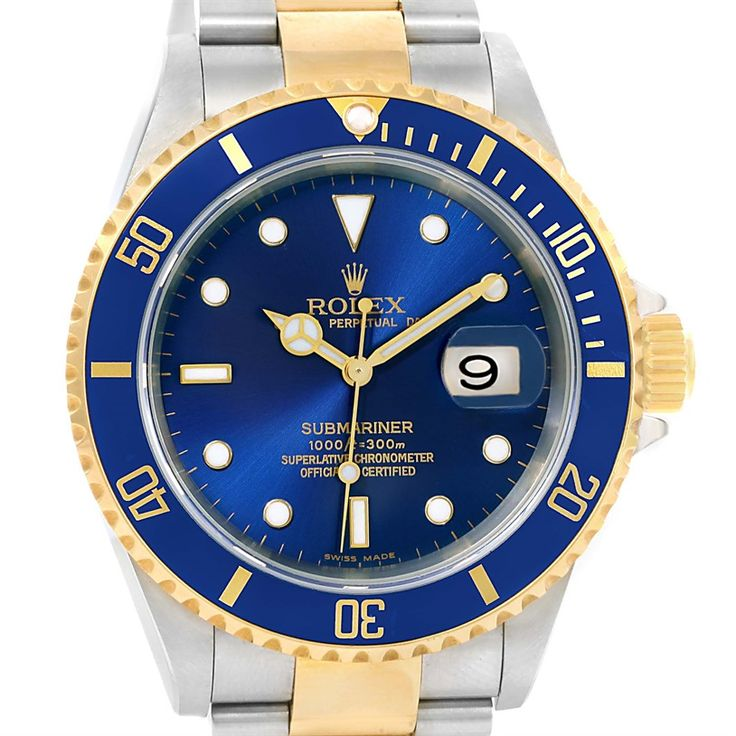 Rolex Submariner Steel Yellow Gold Blue Dial Watch 16613 Box Papers