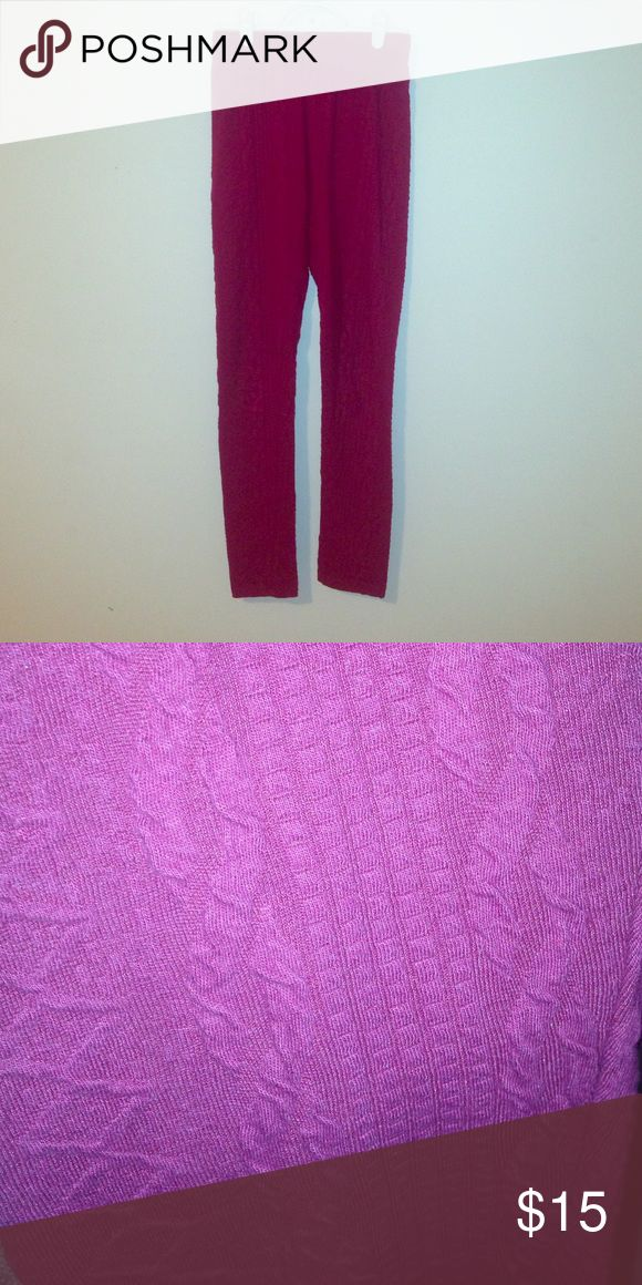 Maroon Textured Leggings (Flash in second picture makes them look more purple than they are but it's used to show texture) tag says small but they fit more like an xs. Worn once Joe Boxer Pants Leggings