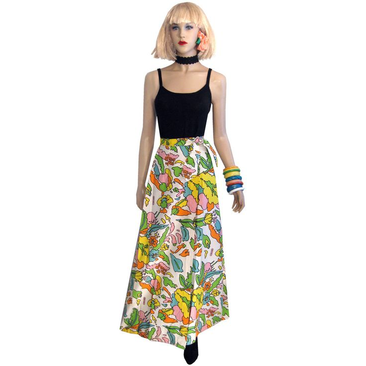 Authentic 60s SUPERB Rare Psychedelic PETER MAX ART Skirt S Dress Hippie Party  #PeterMax