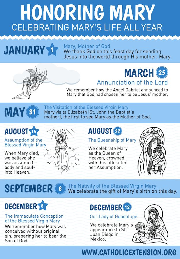 Here's an infographic on some of the popular feast days that honor Our Lady throughout the year. Perfect for Catholic schools, RCIA, or religious education to teach more about Mary.  | Illustration by Karen Zainal karendrawshere.com/