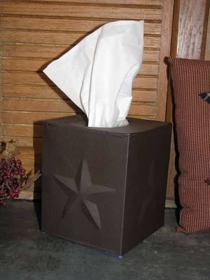 With this rustic brown tissue box holder from Primitive Star Quilt Shop, a necessary item like tissues can become a great addition to your primitive decor! https://www.primitivestarquiltshop.com/collections/farmhouse-primitives/products/star-tissue-box-holder