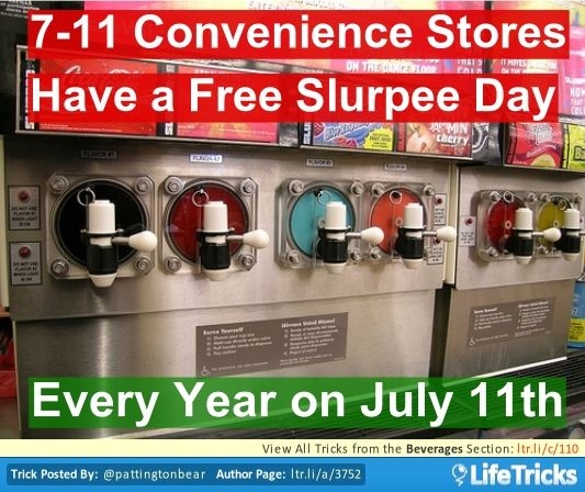 7-11 Convenience Stores Have A Free Slurpee Day - I can't wait!