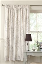 Damask Natural Print Pencil Pleat Curtains. Simple pattern without being boring