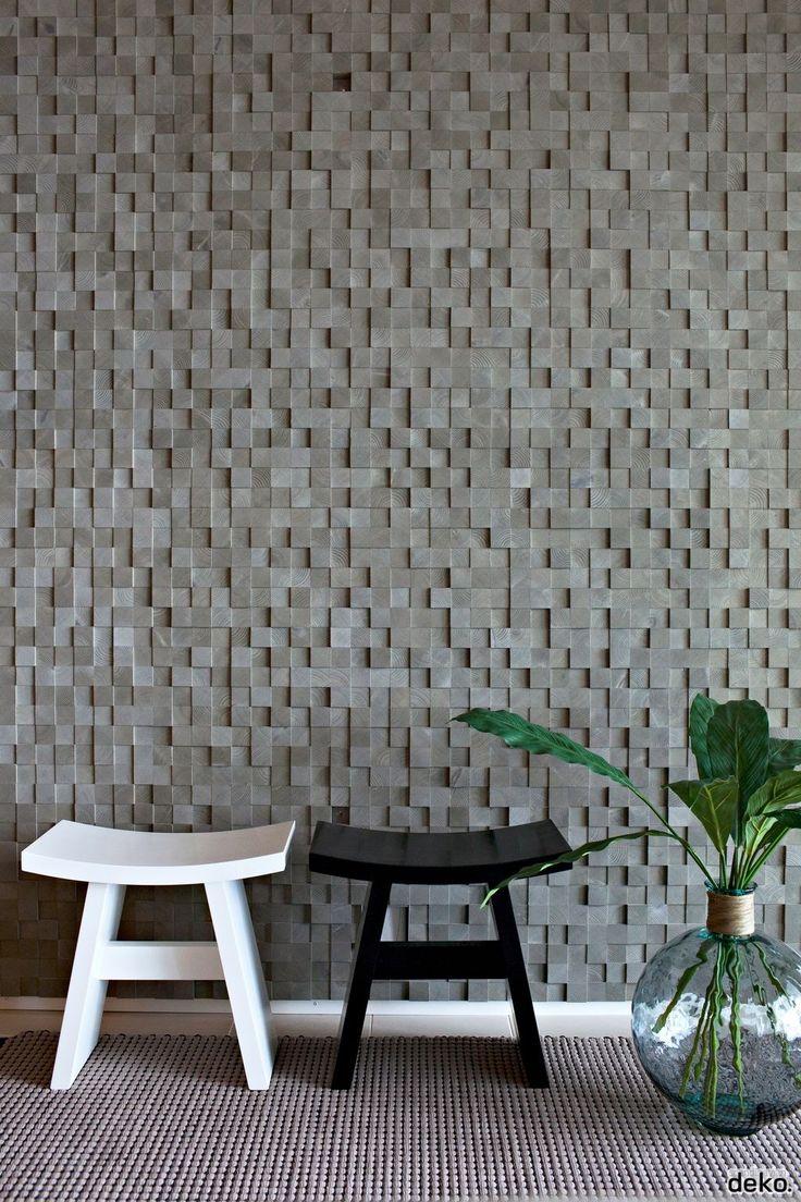 Interior facade made of little wood blocks