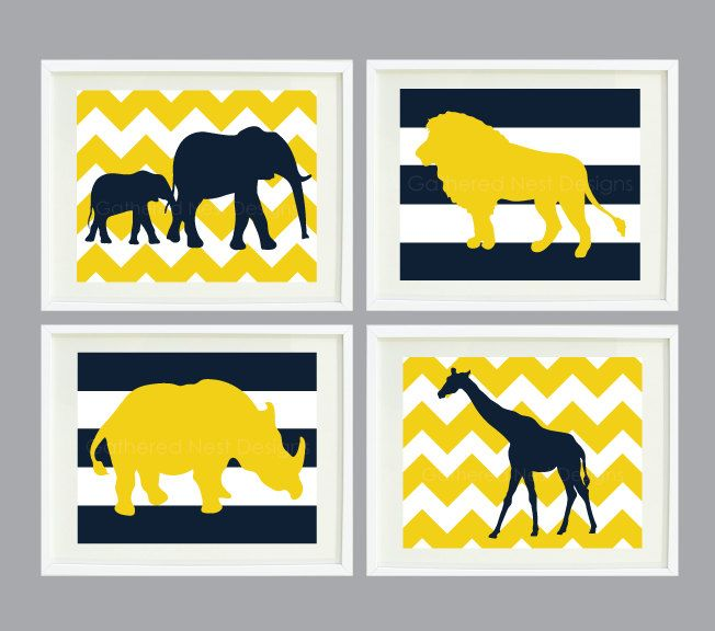 Wall Decal Sticker · Chevron And Striped Zoo Animal Art Print Set Of 4 For  Kids Room   Home Decor