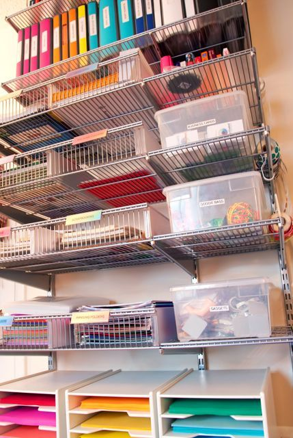 Home Office Organization: Organized office supplies part 2 with color-coded binders